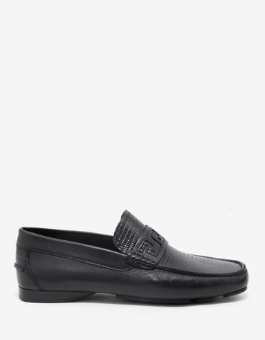 Versace Black Reptile Embossed Leather Driving Shoes