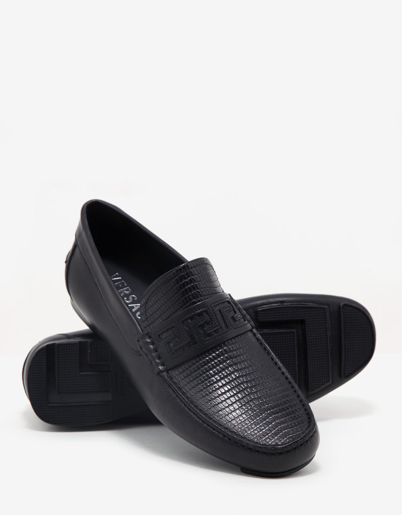 Black Reptile Embossed Leather Driving Shoes
