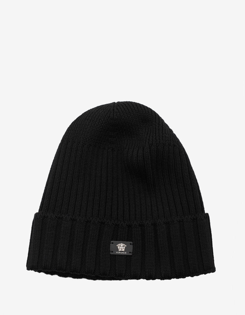 b014467cd64a2 Versace Black Ribbed Wool Beanie Hat – ZOOFASHIONS.COM