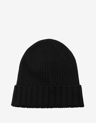 Versace Black Ribbed Wool Beanie Hat