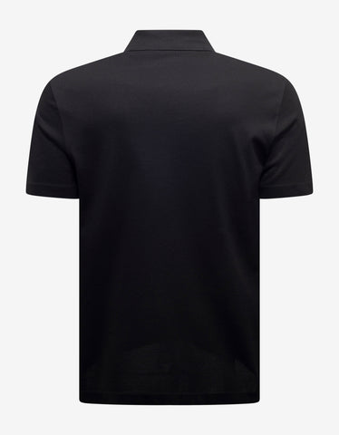 Versace Black Safety Pin Embroidery Polo T-Shirt