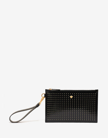 Versace Black Stud Embellished Patent Leather Pouch