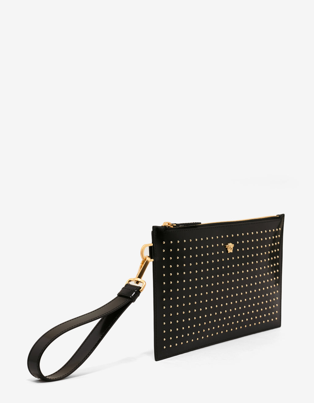Black Stud Embellished Patent Leather Pouch