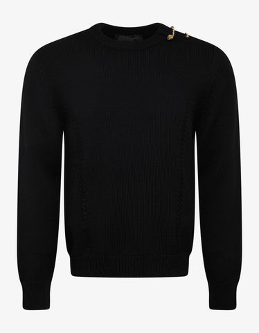 Versace Black Sweater with Gold Medusa Safety Pins