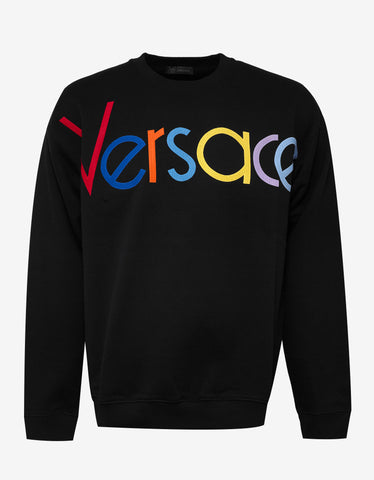 Versace Black Sweatshirt with Multicolour Vintage Logo