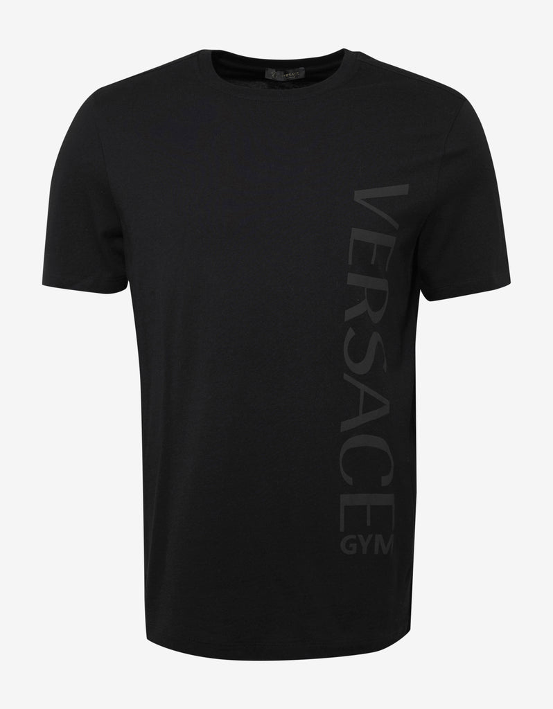 Versace gym black t shirt with grey logo gym print for Gym printed t shirts