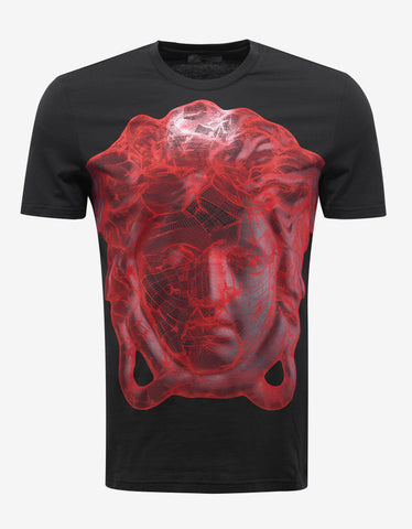 Versace Gym Black T-Shirt with Red Medusa Print