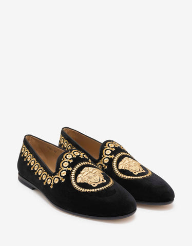 Versace Black Velvet Medusa Embroidery Slippers