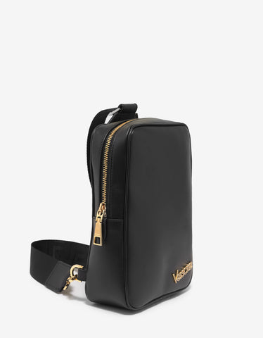 Versace Black Vintage Logo Sling Backpack