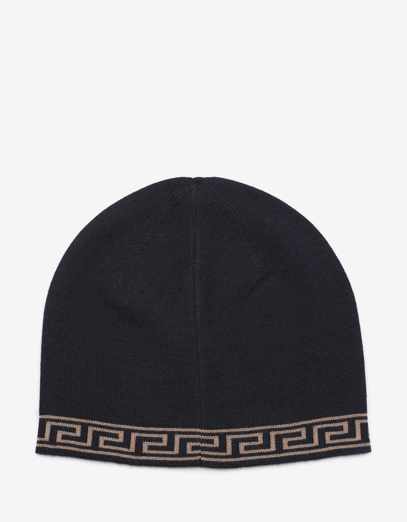 Black Wool Blend Medusa Beanie Hat