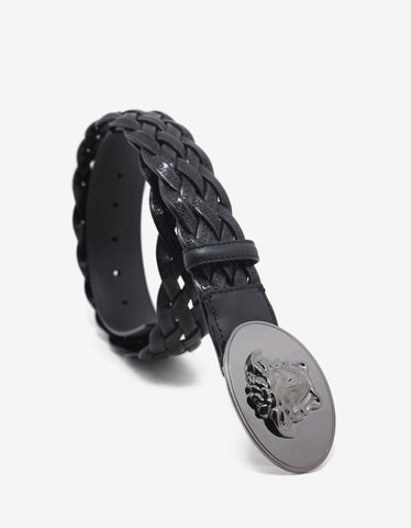 Versace Black Woven Leather Medusa Buckle Belt