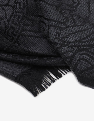 Versace Black & Grey Medusa Graphic Wool Scarf