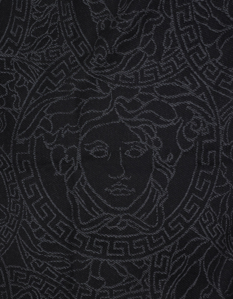 Black & Grey Medusa Graphic Wool Scarf