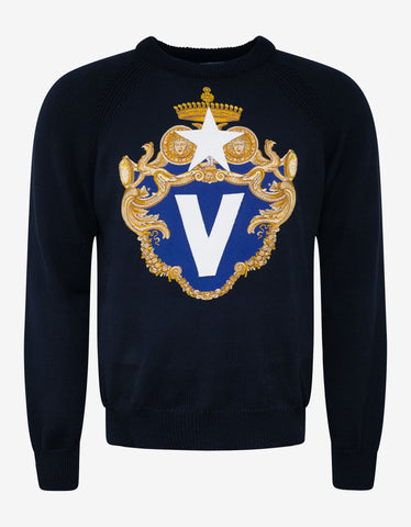 Versace Navy Blue Bandiera Logo Sweater