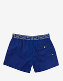 Blue Greek Pattern Swim Shorts