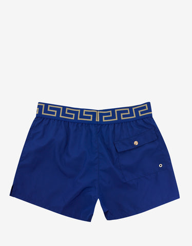 Versace Gym Blue Greek Pattern Swim Shorts