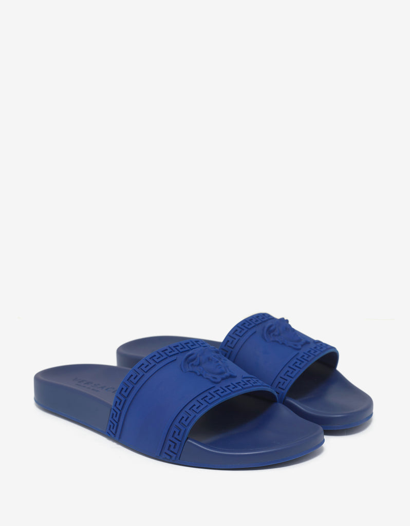 Blue Medusa Embossed Slide Sandals