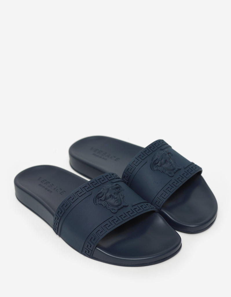 Navy Blue Medusa Embossed Slide Sandals