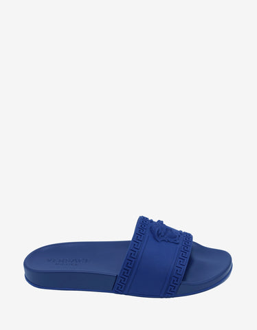 Versace Blue Medusa Embossed Slide Sandals