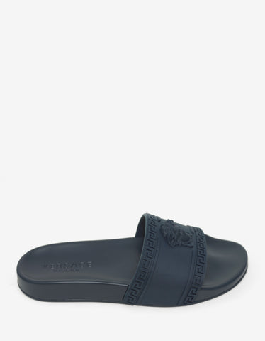 Versace Navy Blue Medusa Embossed Slide Sandals
