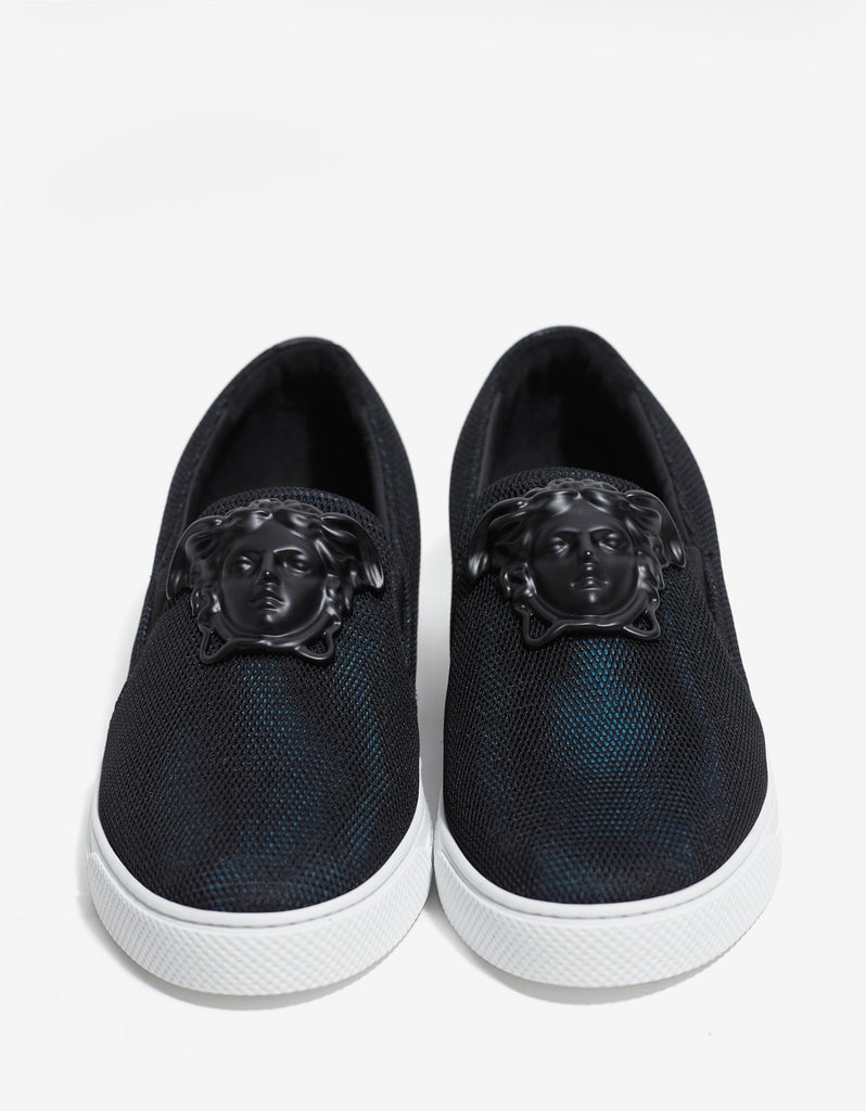 Black & Turquoise Mesh Slip-On Trainers