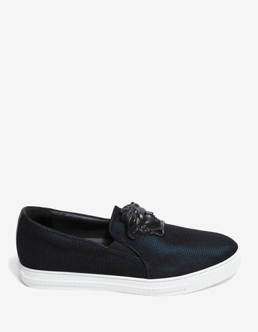 Versace Black & Turquoise Mesh Slip-On Trainers