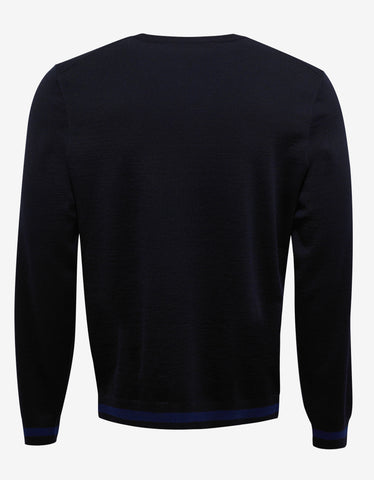 Versace Navy Blue Medusa Embroidery Sweater