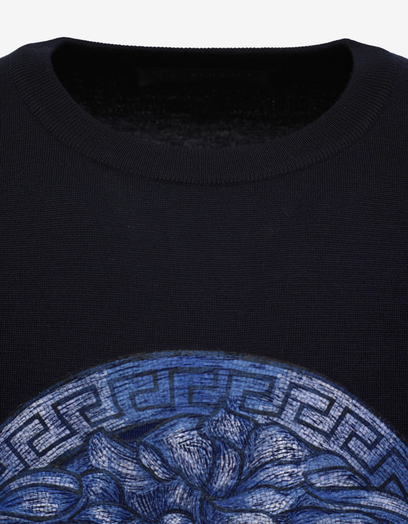 Navy Blue Medusa Embroidery Sweater