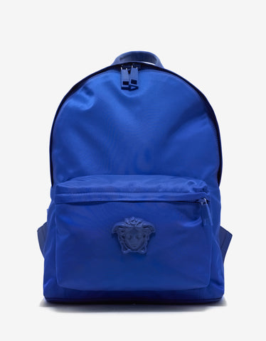 Versace Blue Tonal Medusa Head Nylon Backpack