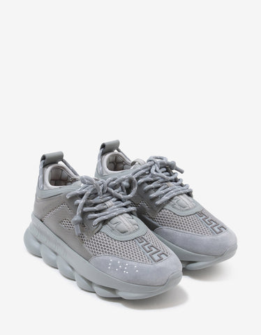 Versace Chain Reaction Grey Mesh Panelled Trainers