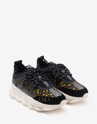 Versace Chain Reaction Safety Pin Print Trainers