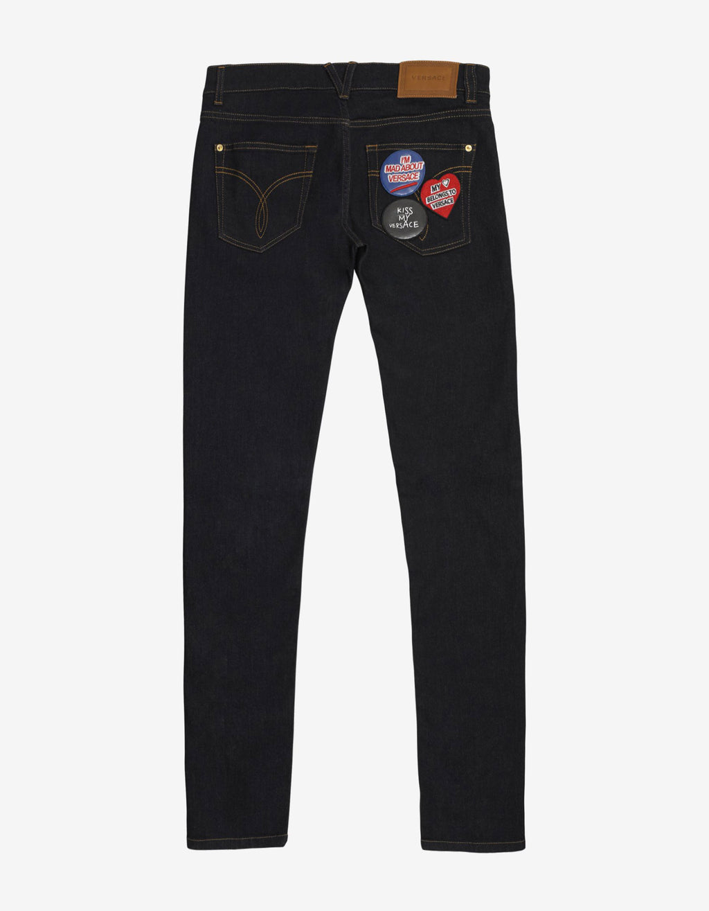 Dark Blue Slim Jeans with Badges
