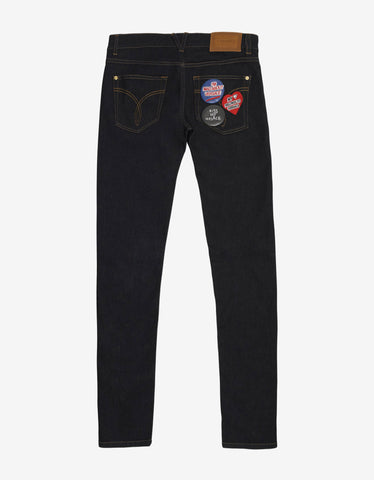 Versace Dark Blue Slim Jeans with Badges
