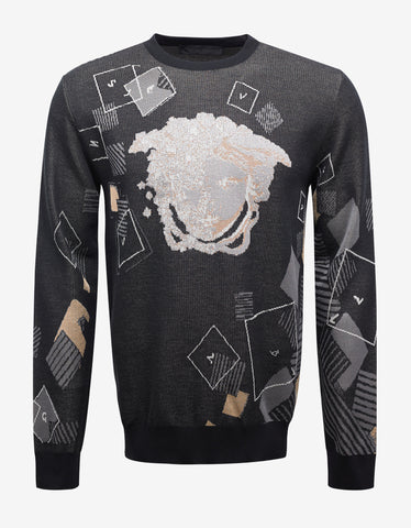 Versace Grey Sweater with Abstract Medusa Head