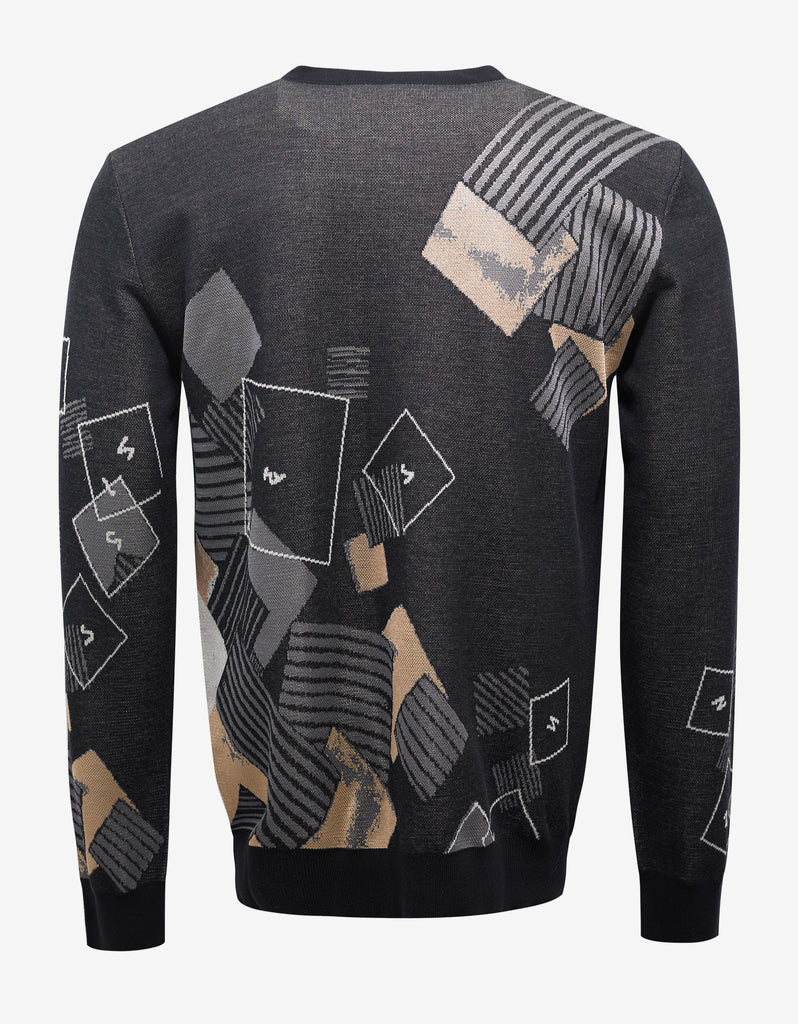 Grey Sweater with Abstract Medusa Head