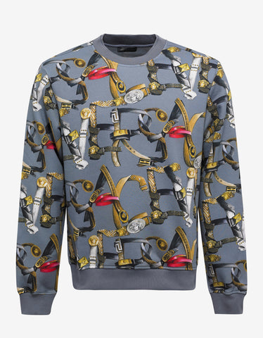 Versace Grey Belt Print Sweatshirt