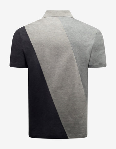Versace Grey Patchwork Logo Polo T-Shirt