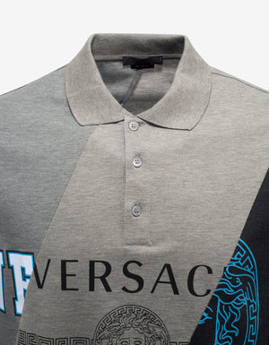 Grey Patchwork Logo Polo T-Shirt