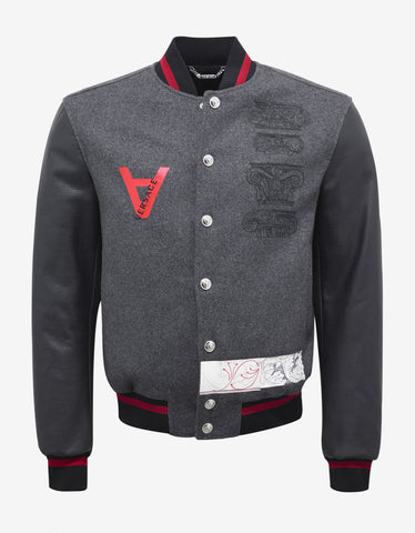 Versace Grey Wool Varsity Jacket with Leather Sleeves