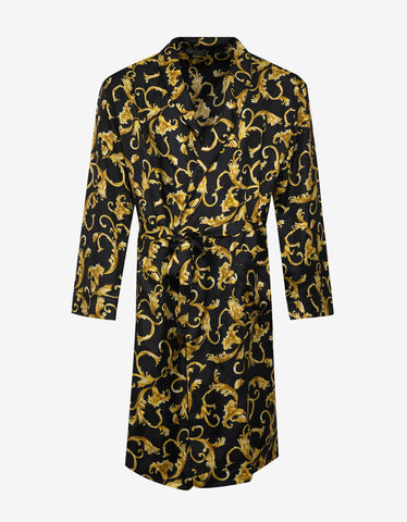 Versace Gym Baroque Print Silk Dressing Gown