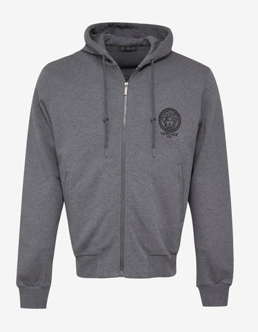 Versace Gym Grey Medusa Embroidery Hooded Tracksuit