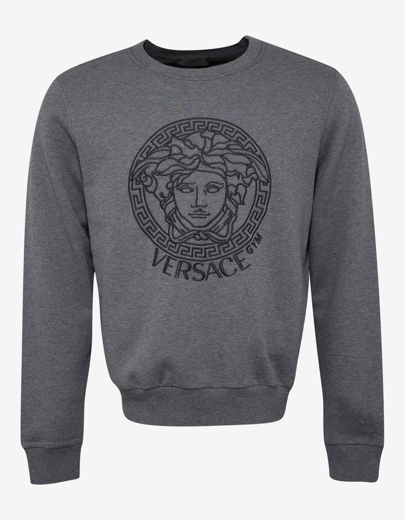 Grey Medusa Embroidery Sweatshirt
