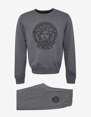 Versace Gym Grey Medusa Embroidery Tracksuit