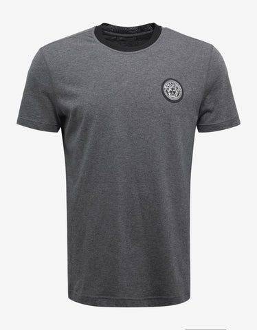 Versace Gym Grey Medusa Logo Badge T-Shirt