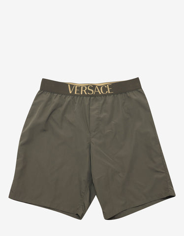 Versace Gym Khaki Logo Band Long Swim Shorts