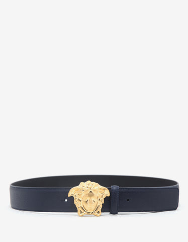 Versace Navy Blue Grain Leather Medusa Buckle Belt
