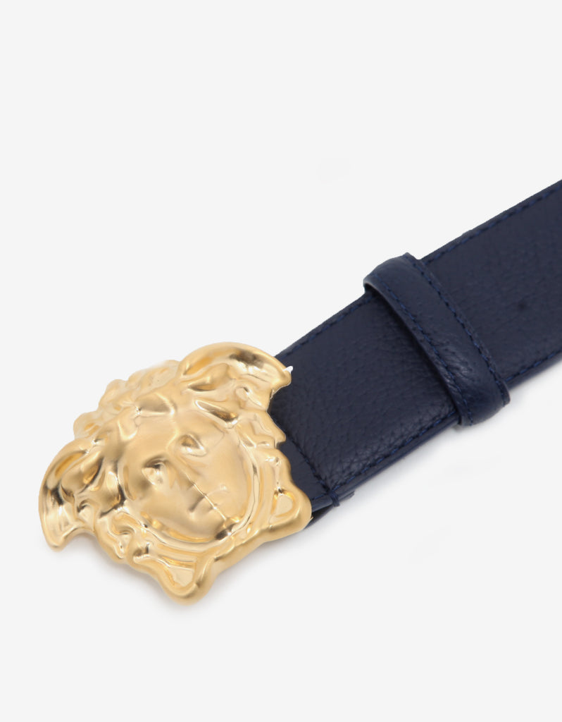 Navy Blue Grain Leather Medusa Buckle Belt