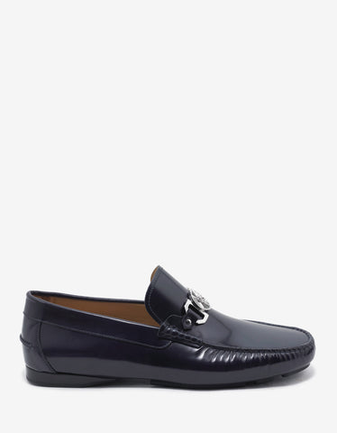 Versace Navy Blue Medusa Crest Leather Driving Shoes