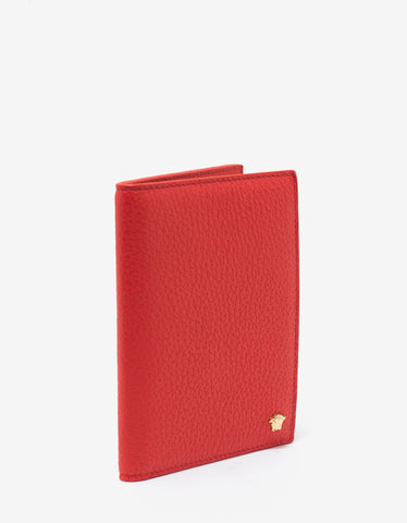 Versace Red Grain Leather Medusa Passport Holder