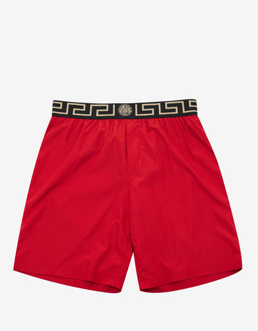 Versace Gym Red Greek Pattern Long Swim Shorts